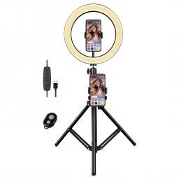 Selfie Kit U25F Ring Light Anneau Lumineux sur pieds Lampe LED - 3 Modes d'éclairage avec télécommande Bluetooth