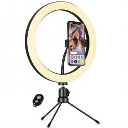 Selfie Kit U25T Ring Light Anneau Lumineux TRIPOD Lampe LED - 3 Modes d'éclairage avec télécommande Bluetooth
