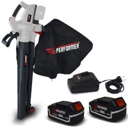 Aspirateur souffleur broyeur de feuilles 40V - X-Performer XPASB40LI-2B Sac récolt. 45 L - 230Km-h + 2 Batteries 4 Ah...