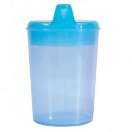 Tasse, gobelet bleu a boire avec deux becs pour boisson et aliment