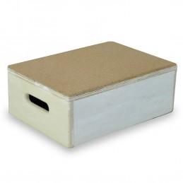 Marchepied en bois 10 cm - avec revêtement liège pour salle de bain ou dans la maison - Anti dérapant