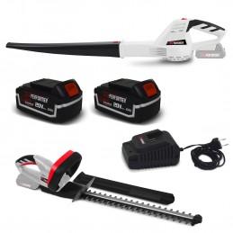 Taille-haies rechargeable + Souffleur à feuilles à batterie X-Performer XPTH20LI + XPTH20LI + 2 Batteries 4 Ah et cha...