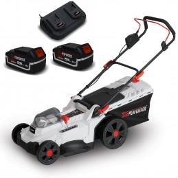 Tondeuse à gazon portative sur batterie - 40V MAX - Hauteur de coupe 6 positions - avec 2 Batteries 4Ah et double cha...