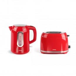 Set petit déjeuner bouilloire rouge 2200W + grille pain rouge 850W