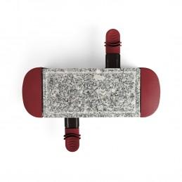Appareil à raclette rouge foncé 2 personnes + 2 caquelons - 350W - plateau amovible en granite