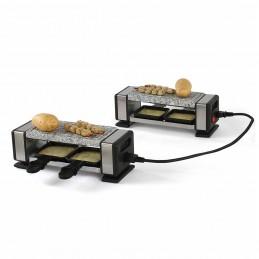 Set de 2 Appareils à raclette pour 2 à 4 personnes + 4 caquelons + 4 spatules - 700W - Plateau granite amovible