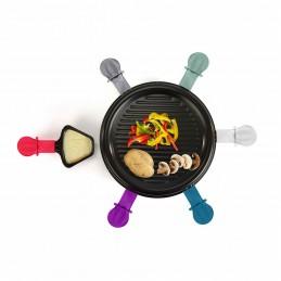 Appareil à raclette 6 personnes + 6 caquelons de couleur + 6 spatules - 800W