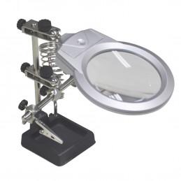 3eme main support avec lentille loupe x2 de 90 mm - 3 bras articulés - pinces crocodiles - LED - Dimensions : 17x12x9.5