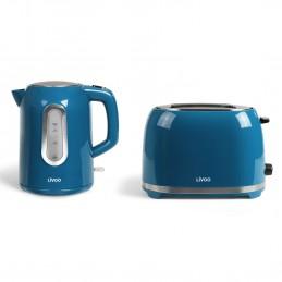 Set petit déjeuner bouilloire bleue 2200W + grille pain bleu 850W