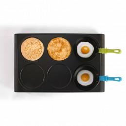Set 3 en 1 mini woks, crêpière et grill + 6 woks + 6 spatules + louche - 6 personnes - Livoo DOM200