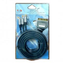 Cordon S-VHS vidéo Haute Qualité 1 Péritel Mâle / 1YC + 2 RCA Mâles 3 m