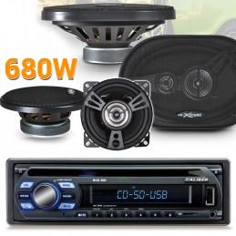 Pack Autoradio Caliber RCD122 75W x 4  +  4 haut parleurs XSound - 680W