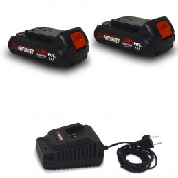 Pack 2 Batteries CONCEPT 20V Lithium 2 Ah compatible pour la gamme d'outils Electro-portatifs X-PERFORMER + Chargeur