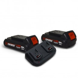 Pack 2 Batteries CONCEPT 20V Lithium 2 Ah pour la gamme d'outils Electro-portatifs X-PERFORMER + Double Chargeur