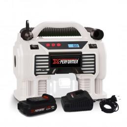 Gonfleur - Mini Compresseur - X-Performer XP2AIR20LI - sans fil 20V/12V - Pression 11 bar - Batterie 2Ah et chargeur ...