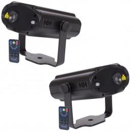 Lot de 2 jeux de Lumière 100 mW autonome, pilotage par la musique - avec télécommande