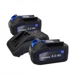 Set 2 Batteries pour outil électroportatif - HYUNDAI HBA20U4 - 20V - 4Ah avec Chargeur HFC20U - Compatible avec la ga...
