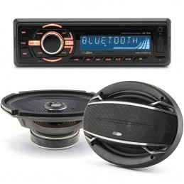 "Pack sono voiture Autoradio bluetooth RMD046BT-2 4X75W + 2 haut parleurs ovales 6x9"" Caliber 180W"
