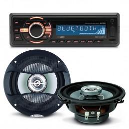 Pack sono voiture Autoradio bluetooth RMD046BT-2 4X75W + 2 haut parleurs 13cm 100W