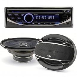 "Pack sono voiture Autoradio RCD123 4X75W + 2 haut parleurs ovales 6x9""  Caliber 180W"