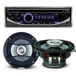 Pack sono voiture Autoradio RCD123 4X75W + 2 haut parleurs 10cm 80W