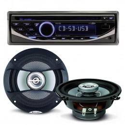 Pack sono voiture Autoradio RCD123 4X75W + 2 hauts parleurs 13cm 100W