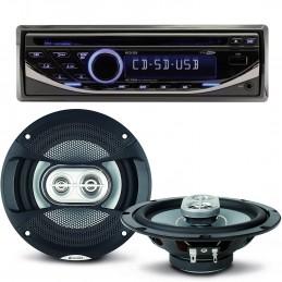 Pack sono voiture Autoradio RCD123 4X75W + 2 haut parleurs 16,5cm 120W
