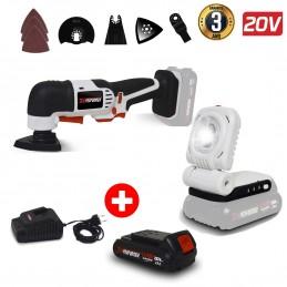 Pack Outil multifonctions à batterie 20V X-Performer - Ponce, Coupe + Lampe de Travail LED + Batterie 2 Ah + chargeur