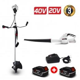 Pack Débroussailleuse 40V + Souffleur à batterie 20V - BRUSHLESS X-Performer - BOBINE / LAME + 2 Batteries 4 Ah / chargeur