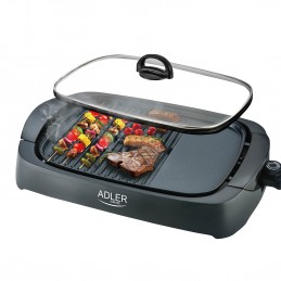 Grill électrique Adler 3000W - Couvercle en verre - 2 zones de cuisson + Spatule
