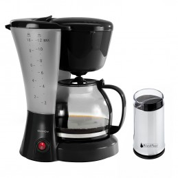 Moulin à café finition inox + Cafetière élect. noire 12 tasses - DOM163N